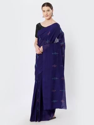 purple hand woven cotton saree