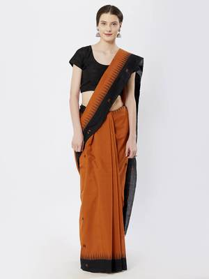 brown hand woven cotton saree