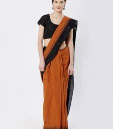 brown hand woven cotton saree