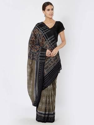 grey hand woven cotton saree
