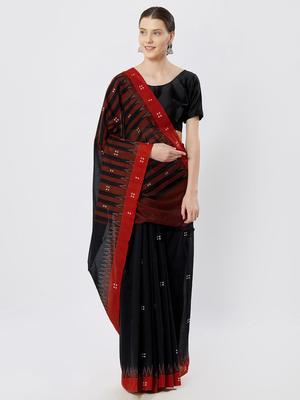 black hand woven cotton saree