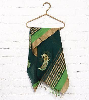 Green hand print art silk dupattas