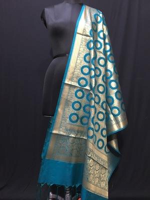 Turquise woven katan Silk dupattas