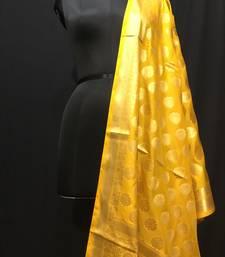 Yellow woven katan Silk dupattas