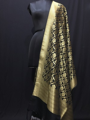 Black woven katan Silk dupattas