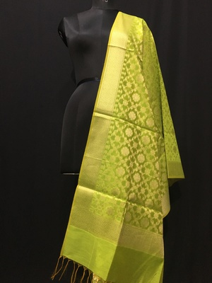 Green woven katan Silk dupattas
