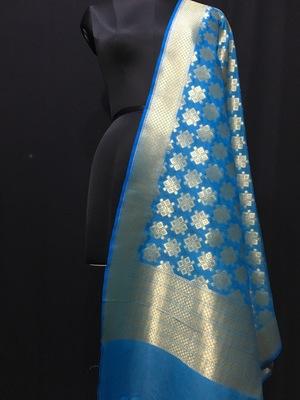 Blue woven katan Silk dupattas