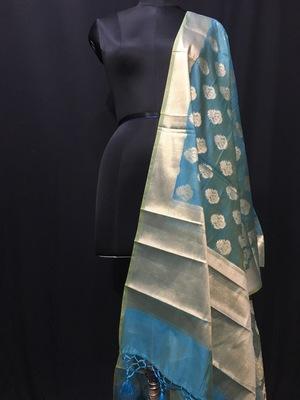 Blue woven Cotton Silk dupattas