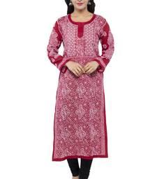 Maroon embroidered cotton chikankari kurtis