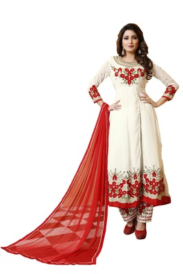 White embroidered faux georgette salwar with dupatta