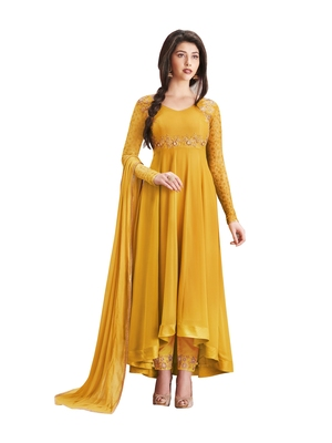 Yellow embroidered faux georgette salwar with dupatta