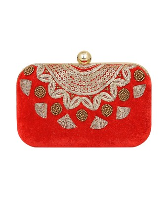 MaFs Women's Sequence Box Clutch for Wedding and Parties, Red