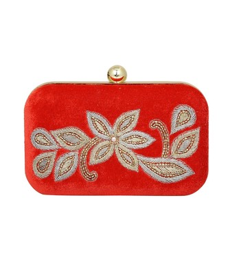 MaFs Women's Sequence Box Clutch for Wedding and Parties, Red Velvet