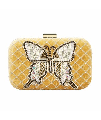 MaFs Women's Sequence Box Clutch for Wedding and Parties, Gold
