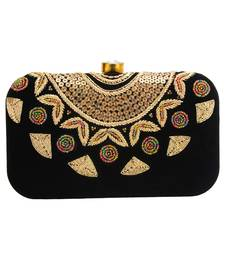 MaFs Women's Hand Embroidered/Zari Zardozi work Box Clutch Bag For Bridal, Casual, Party, Wedding || Black