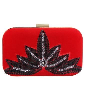 MaFs Women's Hand Embroidered/Zari Zardozi work Box Clutch Bag For Bridal, Casual, Party, Wedding || Red