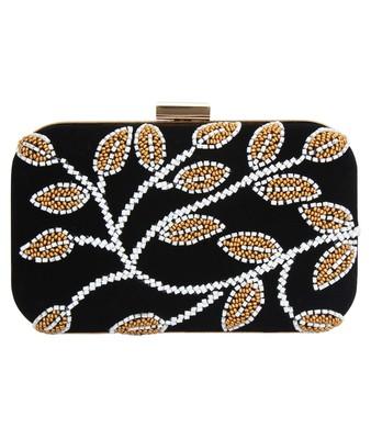 MaFs Women's Hand Embroidered/Zari Zardozi work Box Clutch Bag For Bridal, Casual, Party, Wedding    Black