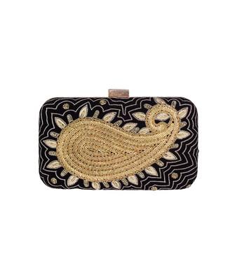MaFs Women's Hand Embroidered/Zari Zardozi work Box Clutch Bag For Bridal, Casual, Party, Wedding || Black
