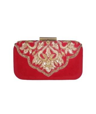 MaFs Women's Hand Embroidered/Zari Zardozi work Box Clutch Bag For Bridal, Casual, Party, Wedding    Red