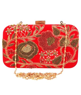 MaFs Women's Hand Embroidered/Zari Zardozi work Box Clutch Bag For Bridal, Casual, Party, Wedding || Red