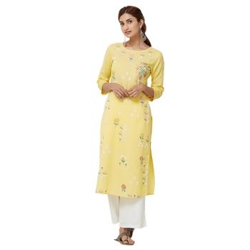Yellow plain cotton kurti