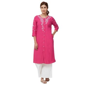 Pink embroidered viscose kurti