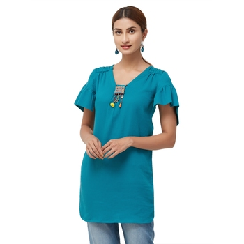 Teal embroidered cotton long tops