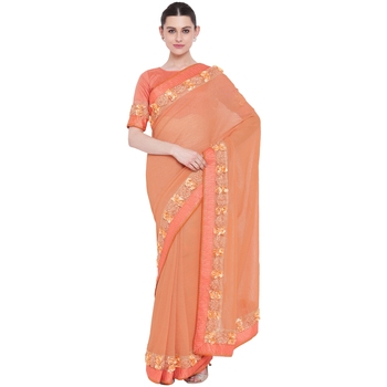 Peach hand woven georgette saree with blouse