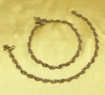 Designer Antique Gold Plated Diamond Stone Worked Payal Anklets.