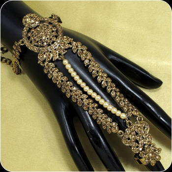 Designer Antique Gold Plated Diamond Stone Worked Wedding Bridal Jewelry Hath Panja, Hath Phool