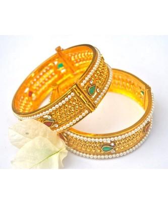 Traditional Gold Kada Bangles with Pearls