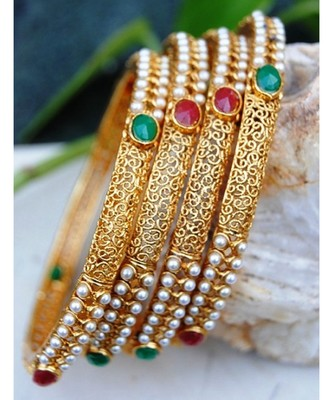 Gold Filigree Pearl Bangles