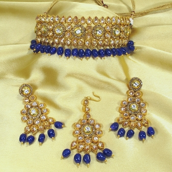 Royal Antique Gold AD Zircon Blue Necklace Jewelry Set