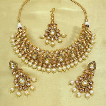 Royal Antique Gold AD Zircon Golden Necklace Jewelry Set