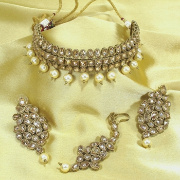 Royal Antique Gold AD Zircon White Necklace Jewelry Set