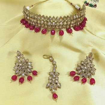 Royal Antique Gold AD Zircon Maroon Necklace Jewelry Set