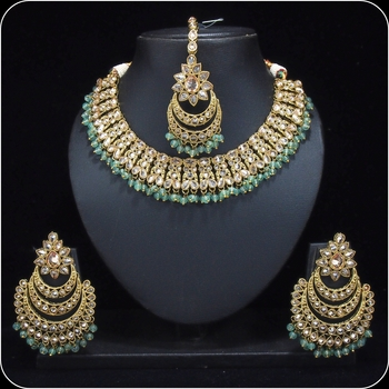 Royal Antique Gold AD Zircon Pista Green Necklace Jewelry Set