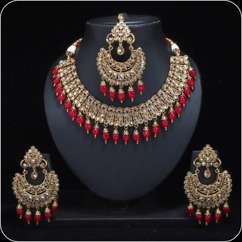 Royal Antique Gold AD Zircon Red Necklace Jewelry Set