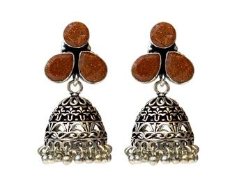 Silver Oxodised Jhumki Earrings