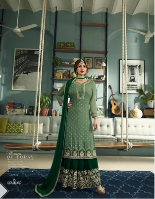 Green embroidered faux georgette salwar with dupatta