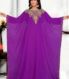 Purple embroidered georgette islamic kaftans