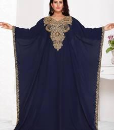 Blue embroidered georgette islamic kaftans