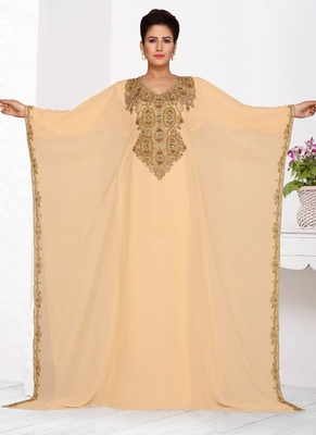 Beige embroidered georgette islamic kaftans