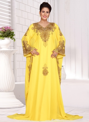 Yellow embroidered georgette islamic kaftans