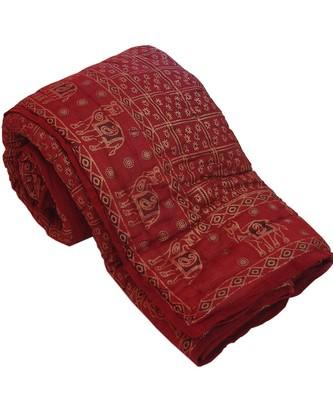 Gold Print Pure Cotton Double Bed Rajai Quilt