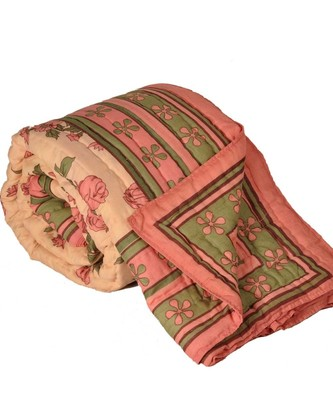Pink FloralPrint Jaipuri Coton Double BedQuilt