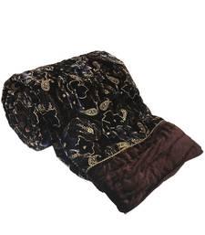 Designer Jaipuri Double Bed Brown Velvet Quilt