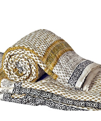 Pure Cotton Sanganeri Print Single Bed Quilt