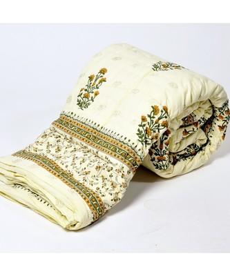 Jaipuri Floral Print Cotton Single Bed Quilt