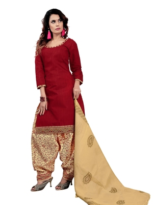 Maroon printed cotton salwar with dupatta